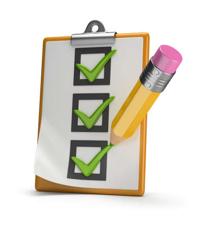 Checklist and pencil stamped tick  3d image  White background  photo