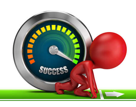 3d small people at the start of next to success meter. 3d image. White background. photo