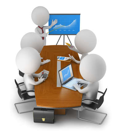 3d povos pequenos reunidos na reunião de negócios de tabela. 3d imagem. Fundo branco.