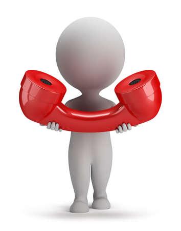3 ª persona pequeña con un gran receptor de teléfono rojo en la mano. Imagen en 3D. El fondo blanco.