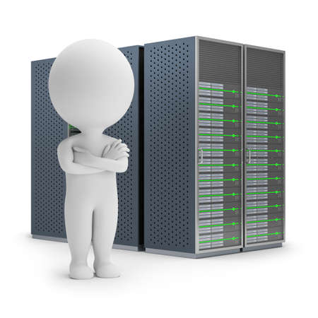 small business concept: 3d small person standing on a background server. 3d image. White background.