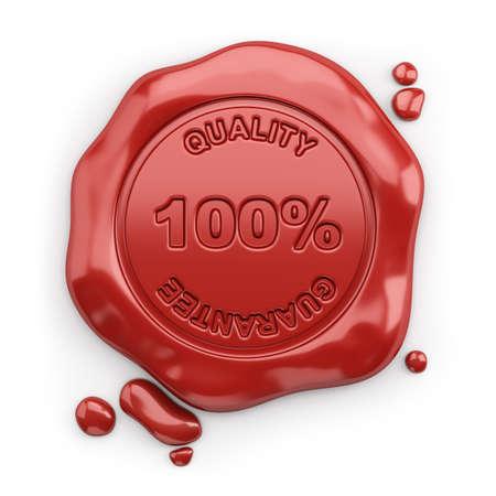 sceau de cire avec l'inscription 100% garantie de qualité. 3d image. Fond blanc.
