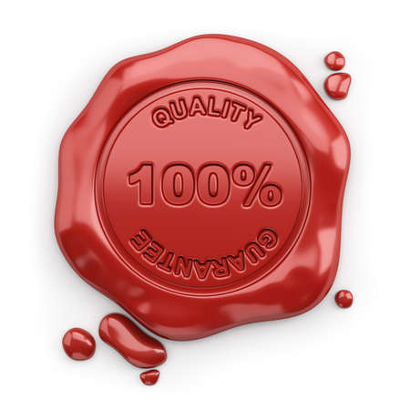 quality guarantee: Wax seal with the inscription 100% quality guarantee. 3d image. White background.