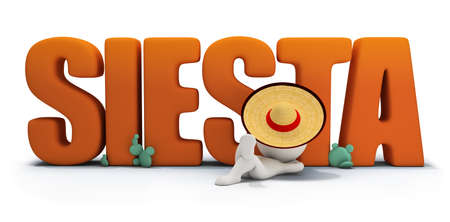 3d small person in a hat lying under the inscription SIESTA. 3d image. White background. photo