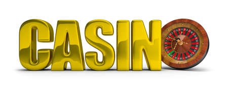 Gold inscription CASINO with roulette. 3d image. White background. photo