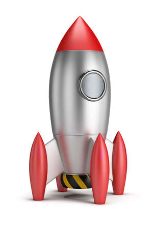 Steel rocket. 3d image. White background.
