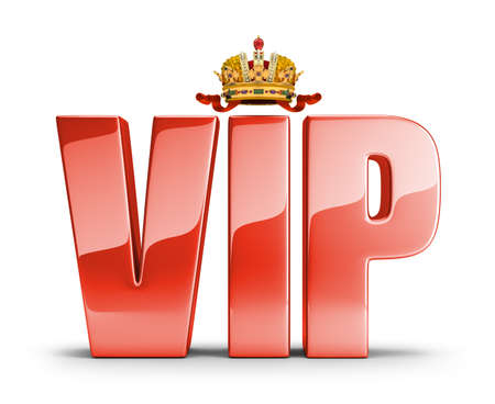 Shiny red lettering at the top of the crown with a VIP. 3d image. White background. photo