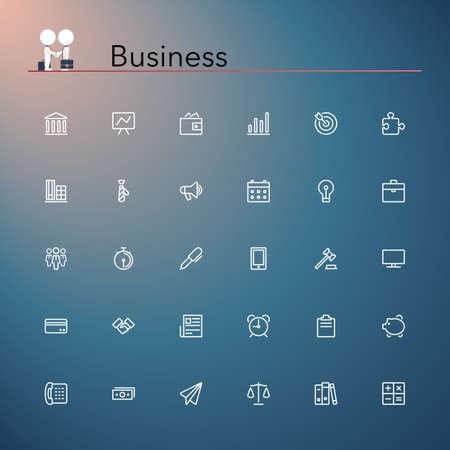 empresas: Iconos de negocio y líneas de financiación establecidas ilustración vectorial