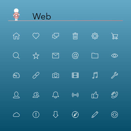 Web and internet line Icons set  Vector illustration