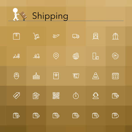 Shipping and delivery line Icons set. Vector illustration. Illustration