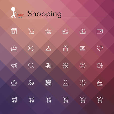web store: Shopping e linea vendita Icons set illustrazione. Vettoriali