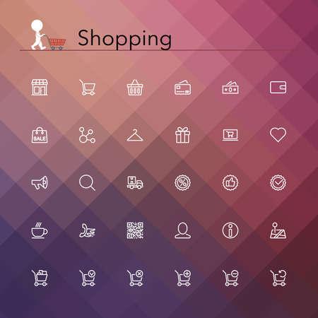 stores: Winkelen en verkoop lijn Icons set illustratie. Stock Illustratie