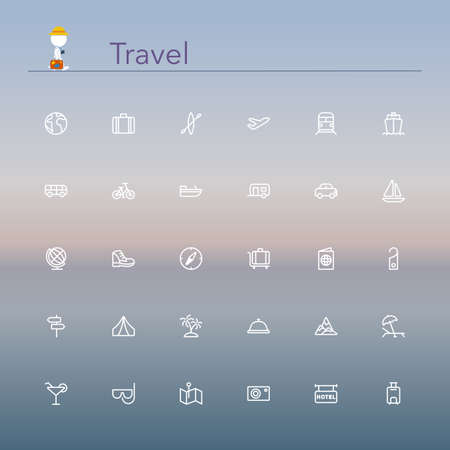 outlines: Travel and tourism line Icons set illustration.