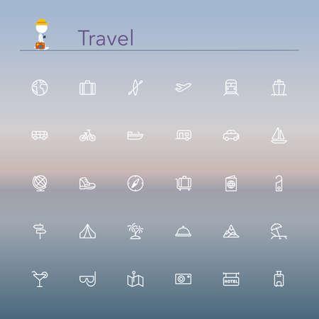 turismo: Viajes y turismo línea Icons set ilustración. Vectores