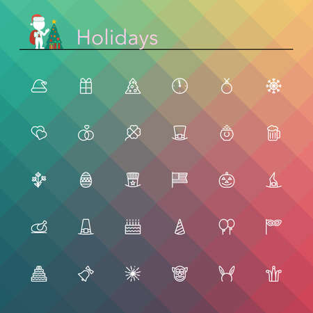 Holidays and events line Icons set illustration. Vector