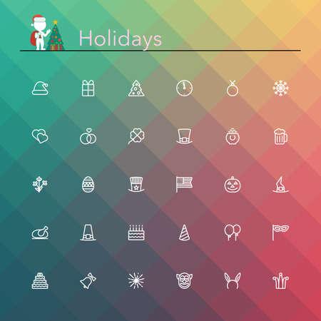 sites web: Vacances et ic�nes de la ligne des �v�nements mis en illustration.