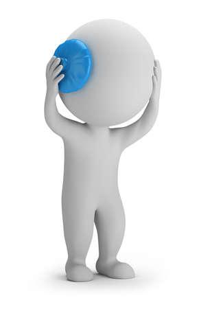 chory: 3d mały człowiek trzyma głowę na lodem. Obraz 3D. Białe tło.