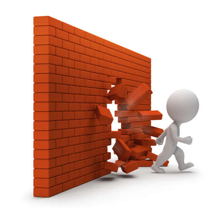 break through: 3d small person passing through a brick wall. 3d image. White background.