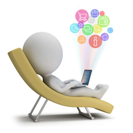 communication: 3d small person lies with a laptop on a chaise lounge. Internet services. 3d image. White background.