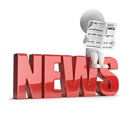3D kleine Person liest eine Zeitung auf der Inschrift Nachrichten. 3D-Bild. Weißen Hintergrund. Standard-Bild - 32009858