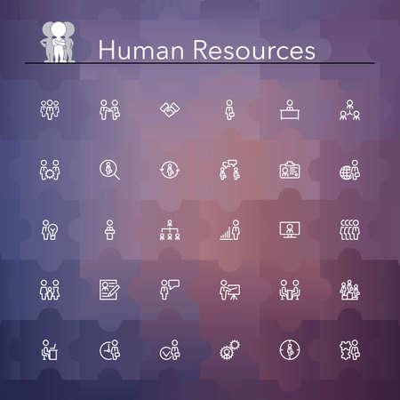 recursos humanos: Los recursos humanos de línea Iconos conjunto. Ilustración del vector.