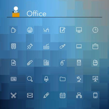 impresora: Iconos de la oficina y de la línea del trabajo establecidos. Ilustración del vector.