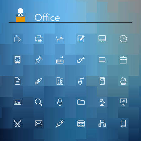 contact icons: Office and workplace line Icons set. Vector illustration.