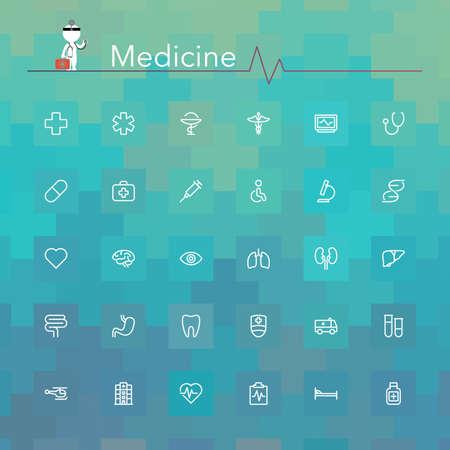 medicamentos: Iconos de l�nea de medicina conjunto. Ilustraci�n del vector.