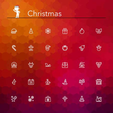 contorno: Iconos de la l�nea de la Navidad fijados. Ilustraci�n del vector. Vectores