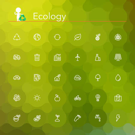 Ecology and Recycling line Icons set. Geometric background.  イラスト・ベクター素材