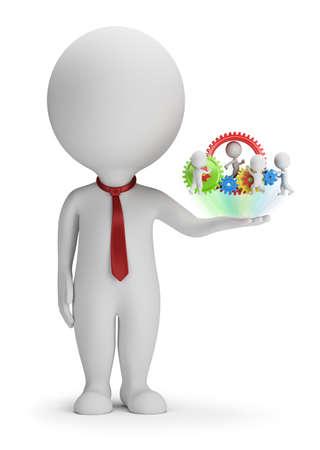 3D 작은 사람 - 관리자와 손바닥에 그의 팀입니다. 3D 이미지입니다. 흰색 배경입니다. 스톡 콘텐츠