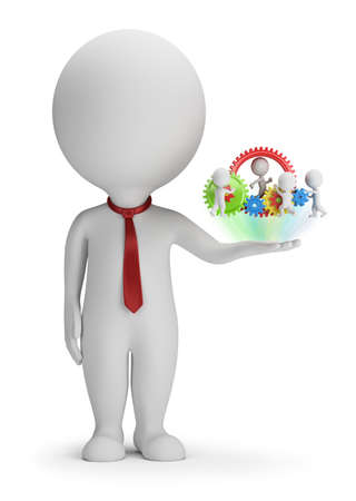 pequeño: 3d pequeña gente - gerente y su equipo en la palma de la mano. Imagen en 3D. Fondo blanco.