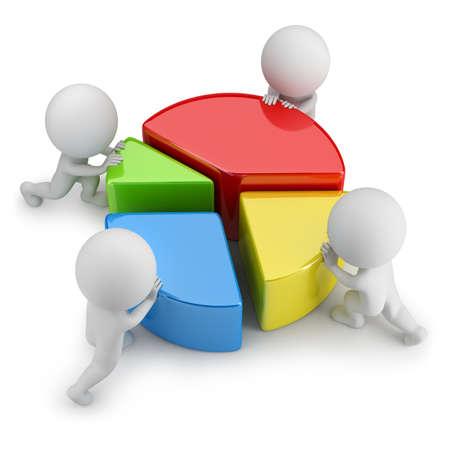mercadotecnia: 3d pequeña gente empujando dividiendo estadísticas. Imagen en 3D. Fondo blanco. Foto de archivo