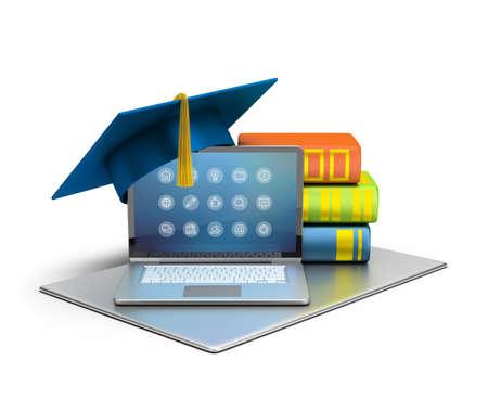 Imagen en 3D. Ordenador portátil, sombrero y libros. El concepto de la enseñanza de la informática. Fondo blanco aislado.
