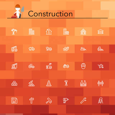 construction crew: Construction line icons set. Vector illustration.