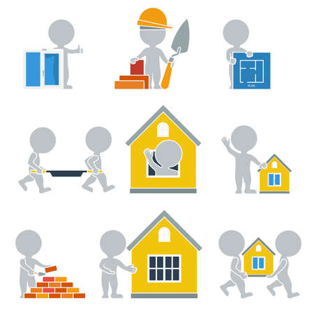 Flat people. Collection of flat icons - Construction. Vector illustration. Vector