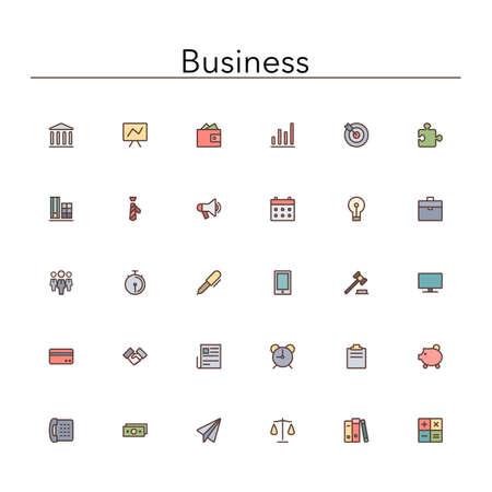 Negocios Y Finanzas Iconos De Color De Línea De Set. Ilustraciones ...