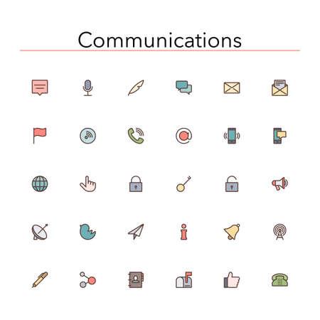Social and communications colored line icons set.  Ilustração