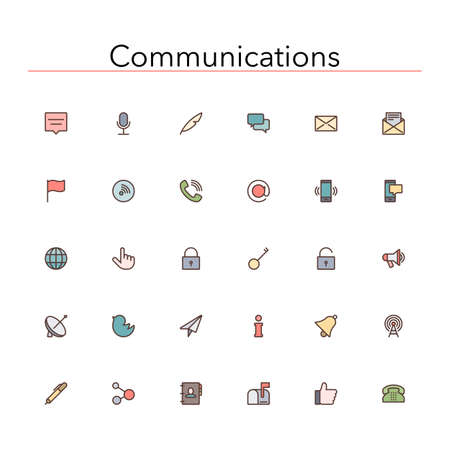 Social and communications colored line icons set.  Illusztráció