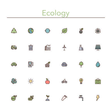 Ecology and Recycling colored line icons set.  Illustration