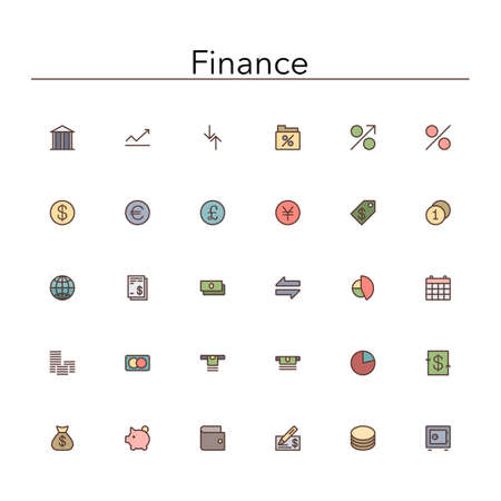 Finance colored line icons set.
