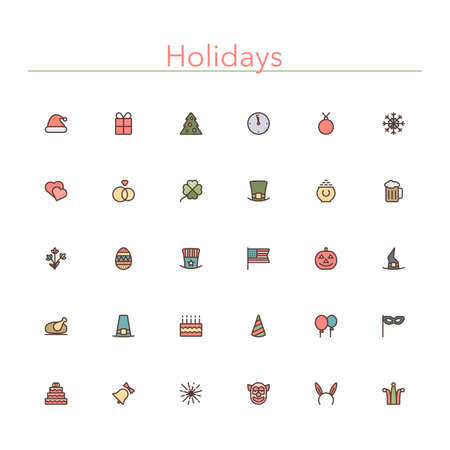 new year's cap: Holidays and events colored line icons set.