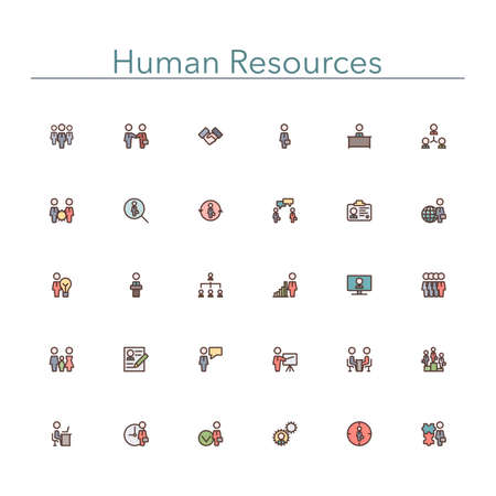colored: Human resources colored line icons set.