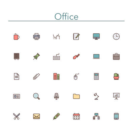 colored: Office and workplace colored line icons set.  Illustration
