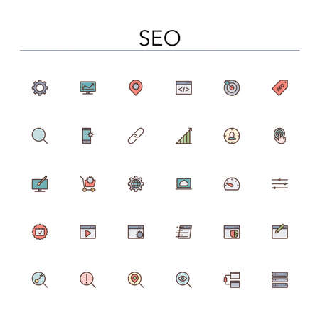 global settings: SEO and development colored line icons set.  Illustration