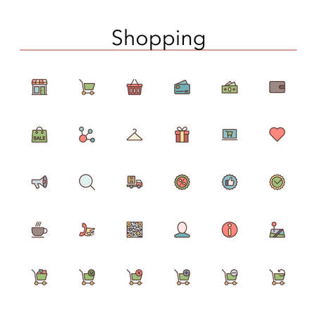 e wallet: Shopping and sale colored line Icons set. Illustration