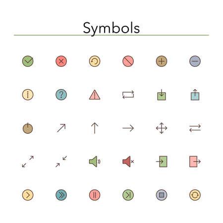 Symbols colored line icons set. Vector