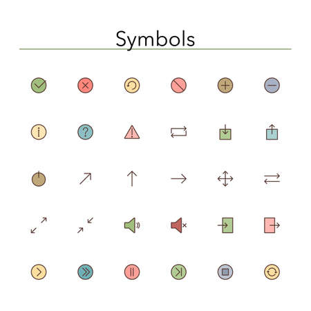 input output: Symbols colored line icons set.