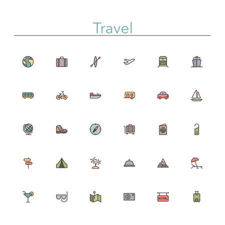 excursions: Travel and tourism colored line icons set.