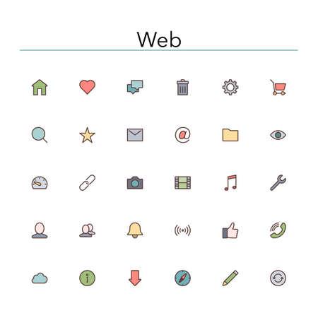웹 및 인터넷 컬러 라인 아이콘을 설정합니다. 스톡 콘텐츠 - 35761291